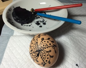 Day 12: Tonight's egg, waxed, before dye bath and varnish