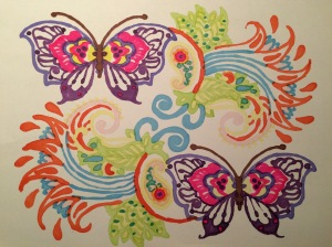 Day 43: Coloring book flip side - butterflies are always good.