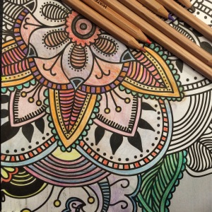 Day 33: Daphne's Diary Coloring Book page (watercolor pencils)