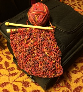 Day 65: Another hotel, another knitted row or two