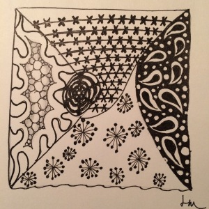 Day 62: Not my best Zentangle...should have kept the sections smaller.