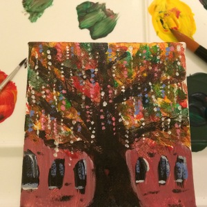 Day 69: Mardi Gras bead tree (acrylic paint)