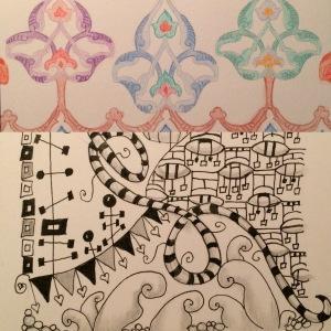 Days 71 & 72: watercolor pencil - Turkish postcard coloring postcard and Zentange