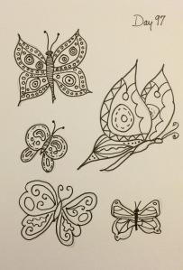 Day 97: Creative doodling butterflies
