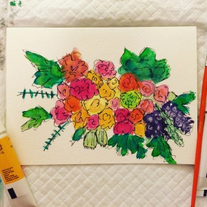 Day 96: Loose painting in gouache of a spring bouquet