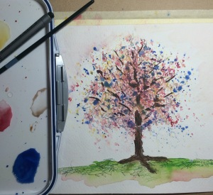 Day 102: Tapped down primary pigment watercolors, then misted to muddle