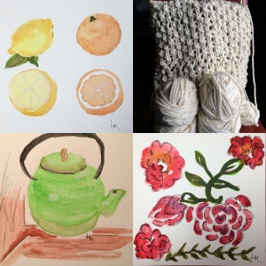 Days: 104-watercolor flowers, 105-watercolor teapot, 106-continued wrap knitting, and 107-watercolor oranges and lemons